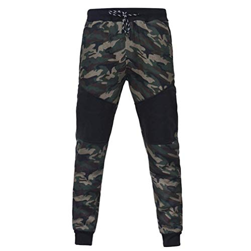 8ae9d1c75 SUNNY Store 2018 Mens Outdoor Camouflage Black Splicing Drawstring Trousers  Pants(Camouflage-Large)