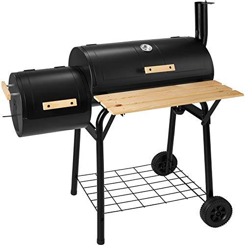 TecTake 400821 Holzkohlegrill Smoker mit Thermometer, Holzablage an der Grillvorderseite, Regulierbare Luftzu- und…