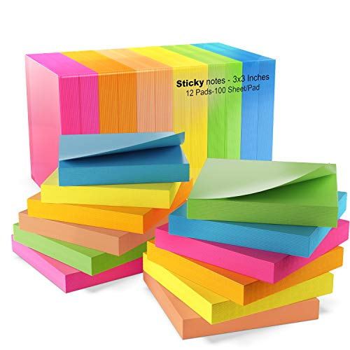 Sticky Notes 3x3, Bright Colorful Stickies, 12 Pads 1200 Sheets Total, Strong Sticking Memo Pads, 6 Colors (Yellow, Green, Blue, Orange, Pink, Rose) ()
