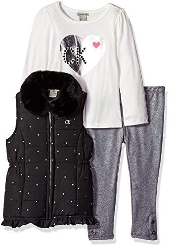 Calvin Klein Girls' Toddler 3 Pieces Puffer Vest Set, Marshmallow/Print 2T