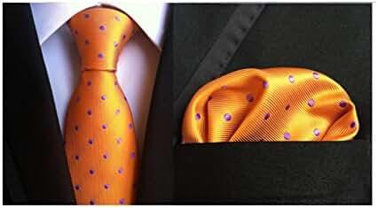 MENDENG Men's Gold Blue White Polka Dots Silk Tie Necktie Handkerchief 2 Pcs Set