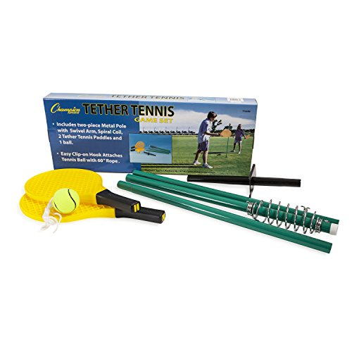 Champion Sports TTGAME Tetherball Tennis: Swingball Outdoor Lawn Game for Kids, Adults, and Families - Backyard Tether Kit with Tennis Ball and Paddle Set