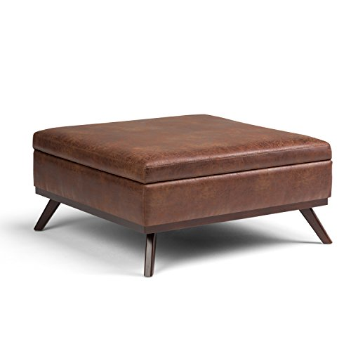 (Simpli Home AXCOT267L-DSB Owen 38 inch Wide Mid Century Modern Square Storage Ottoman in Distressed Saddle Brown Faux Air Leather)