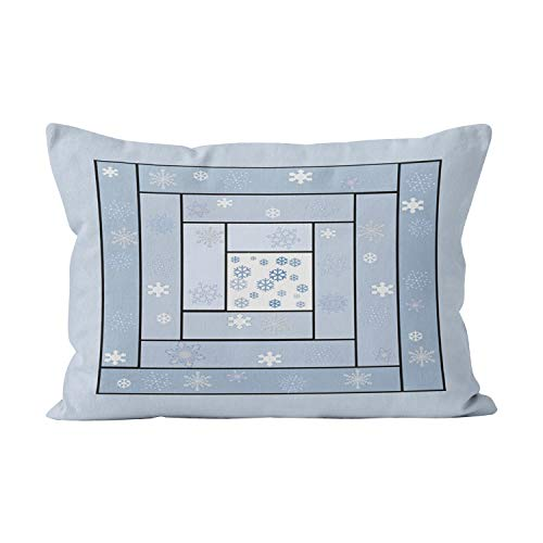 (Suklly Snowy Log Cabin Quilt Patterned Funny Hidden Zipper Home Decorative Rectangle Throw Pillow Cover Cushion Case 20x30 Inch Queen One Side Design Printed)