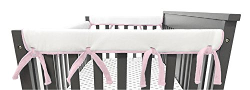 (American Baby Company 2 Pack Heavenly Soft Chenille Reversible Crib Rail Cover for Side Rails, Pink/White, Narrow for Rails Measuring up to 8