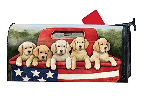 Weather Vinyl Mailbox Cover - MailWraps Studio M Patriotic Puppies Decorative Summer Dogs, The Original Magnetic Mailbox Cover, Made in USA, Superior Weather Durability, Standard Size fits 6.5W x 19L Inch Mailbox