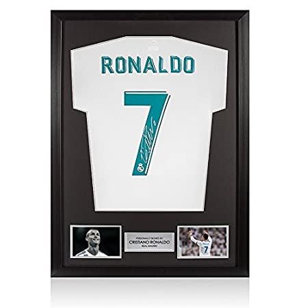 0db1ad1bc92 Framed Cristiano Ronaldo Signed Real Madrid Shirt 2017 2018 - Number 7   Amazon.co.uk  Kitchen   Home