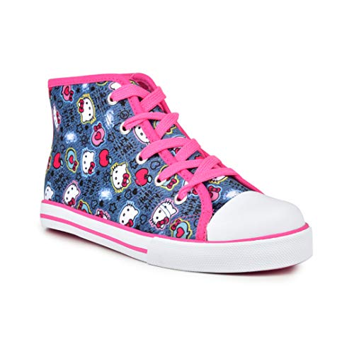 Hello Kitty Lil Katherine Fashion Sneaker High Top Lace Up Blue Denim 3 Little Kid (Glitter Shoes Hello Kitty)