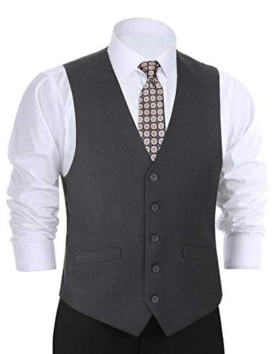 (CHAMA Men's Formal Classic Fit Business Dress Suit Button Down Vest Waistcoat(34 Regular,Dark)