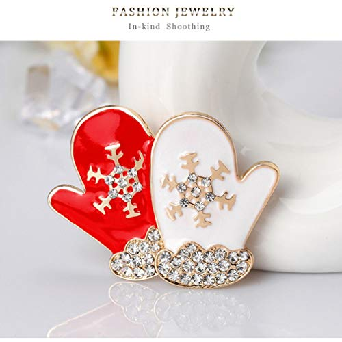 Unitedheart Enameled Christmas Gloves Brooch Pins Decor Jewelry Gift for Kids Girls Rhinestones Brooch Fashion Trendy Brooch Pin