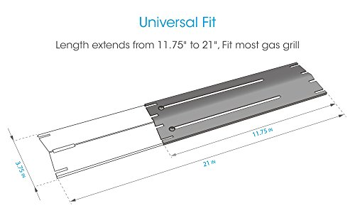 """UNICOOK Universal Replacement Heavy Duty Adjustable Porcelain Steel Heat Plate Shield, Heat Tent, Flavorizer Bar, Burner Cover, Flame Tamer for Gas Grill, Extends from 11.75"""" up to 21"""" L, 4 Pack"""