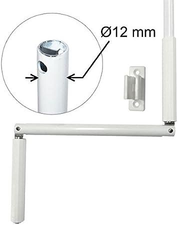 Manivelle Volet Roulant O12 Mm Acier Laque Blanc Long 1200 Mm