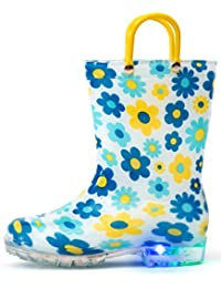 Toddler Kids Adorable Printed Light Up Rain Boots