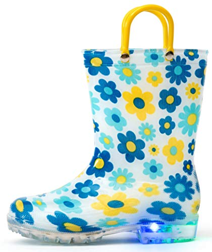Outee Toddler Girls Kids Light Up Rain Boots Printed Waterproof Shoes Lightweight Cute Blue Flower with Easy-On Handles and Insole (Size 9,Blue)