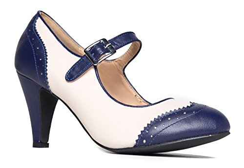 Womens Shoes Heel Leopard Inspired (Kym Oxford Kitten Heel, Navy Cream, 8.5 B(M) US)