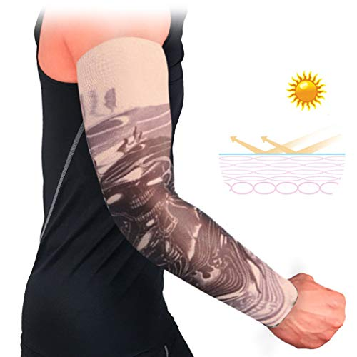 2019 Arm Sleeves UV Protection Sleeves Men Women,Breathable Anti-Slip Cuffs UV Protection Compression Sun Sleeves (9/18 Pockets, V)