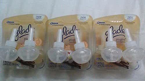 6 Glade Plugins Scented Oil Refills Pure Vanilla Joy LOVE;)This Fragrance No Box