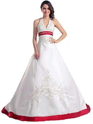 RohmBridal Women's Embroidery Halter Wedding Dress Bride Gown Ivory Red 10