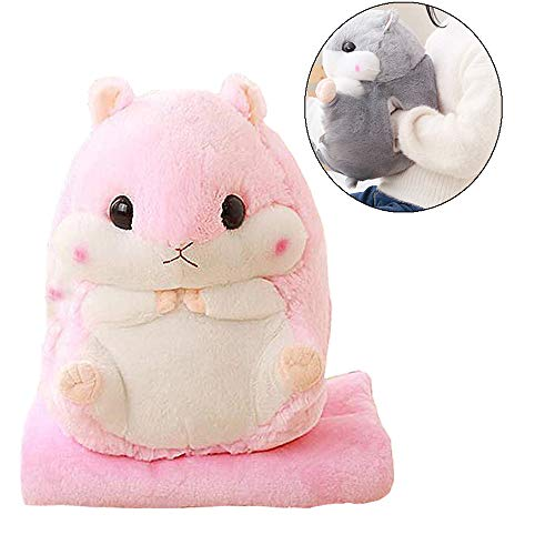 - AQUEOUS Cute Hamster Plushed Pillow 3 in 1 Stuffed Hamster - Plush Car Pillow Air Conditioning Blanket with Hand Warmer 39 x 67 Inch (Pink Hand Warmer)