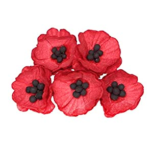 50 red Paper Poppy Flowers for Scrapbooking, Veteran's Day Decoration by ScrapFlowers … 11