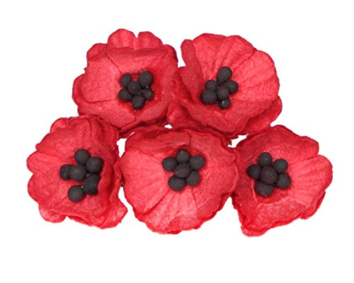 50 Paper Poppy Flowers for Scrapbooking, Veteran's Day Decoration by ScrapFlowers ... (Red)