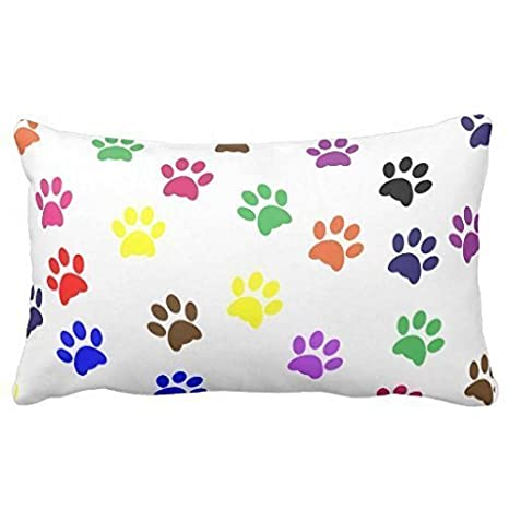 Twin Sides Colorful Dog Paw Art Print Animal Paw Pattern Zippered Pillow Case Decor Pillow Covers Soft Rectangle Pillowcase 20x 30 Inch