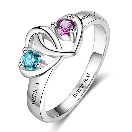 Tian Zhi Jiao Personalized Mother Daughter Rings with 2 Simulated Birthstones Custom Mom Jewelry Promise Ring for Women (7) ()
