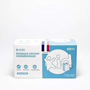 UniR Masques chirurgicaux 3 plis Enfants 6ans-10ans, Type 2, Fabrication France , BFE + 98% (Boite de 50 masques)
