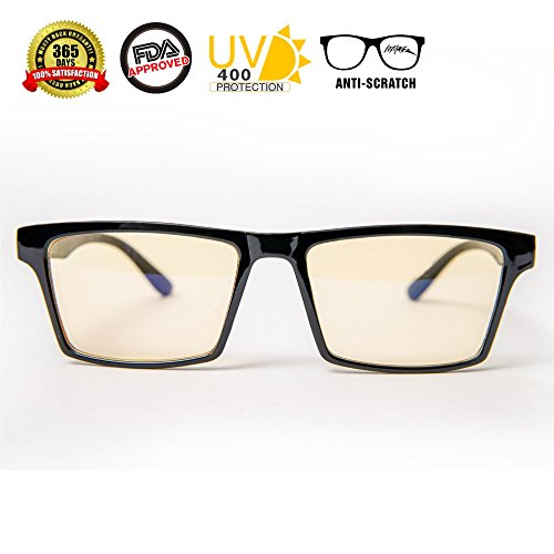 Blue Eyes Lens (Blue Light Blocking Glasses - Anti-Reflective Anti-Glare Amber Lenses for Computers and Digital devices - Fight Visual Fatigue - Shatterproof and UV 400 Protection - Stylish, Unisex)