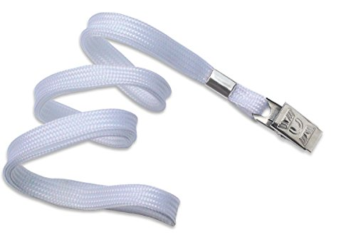 100 White Flat Non-Breakaway Lanyards With Steel Bulldog Clip