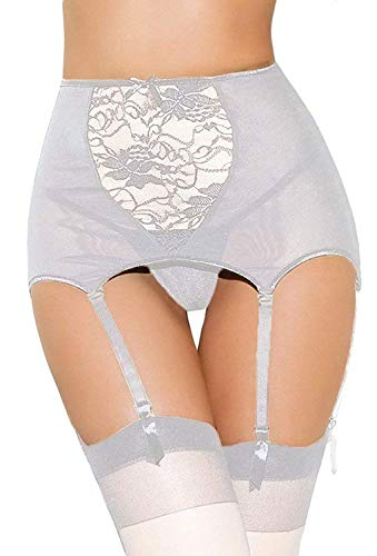 Estanla Women's Sexy High-waisted Hollow-out Lace Garters (XL, White)