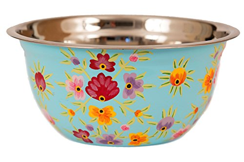 ing, Serving Pasta, Fruit, Rice. Decorative, Designed Hand Painted Stainless Steel (Light Green, Light Blue, Cream) (Walnut Salad Bowl)