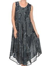 Sakkas Laeila Tie Dye Washed Tall Long Sleeveless Tank Top Caftan Dress / Cover Up