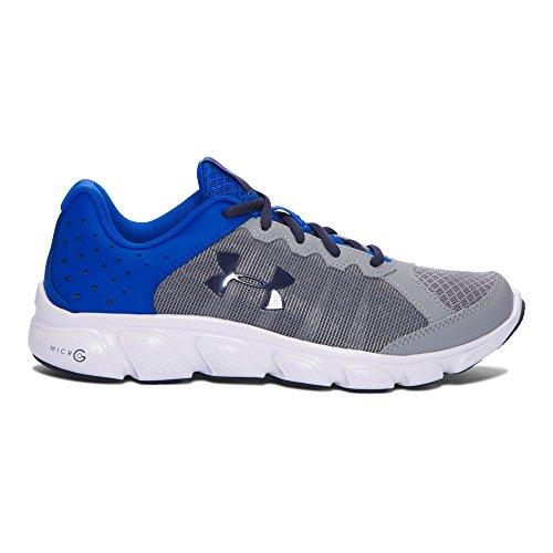 Under Armour Boys' Grade School Micro G Assert 6 Running Shoes Slide Sandal, Steel/Ultra Blue, 6.5 Medium US Toddler