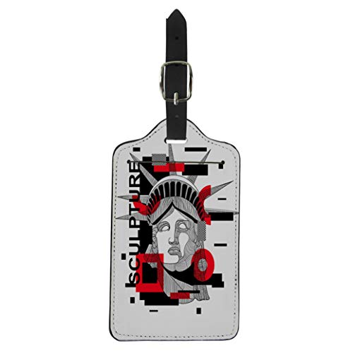 Semtomn Luggage Tag Liberty Modern Sculpture Glitch Geometry Beachwear the Statue Suitcase Baggage Label Travel Tag Labels ()