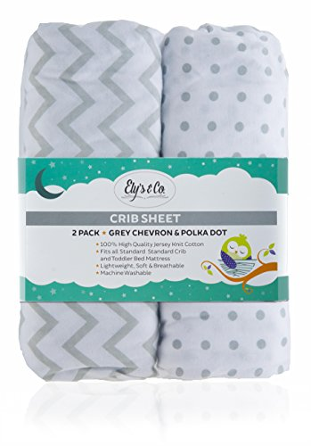 Crib Sheet Set 2 Pack 100% Jersey Cotton for Baby Girl by Ely's & Co. - Grey Chevron and Polka Dot by Ely's & Co.