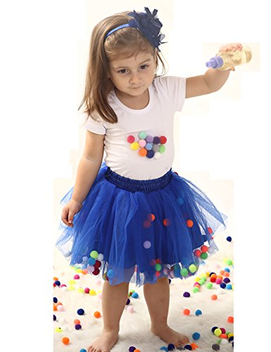 Baby Girls Tutu Skirt and Toddler T-Shirt Sleeve Top Outfit Set (S, Royal Blue) Blue Skirt Outfit