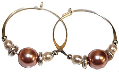 Bali Sky Large Sterling Silver Filled Pink Pearlized Bead Hoop Earrings SHL030 (Bali Sterling Silver Spacer Beads)