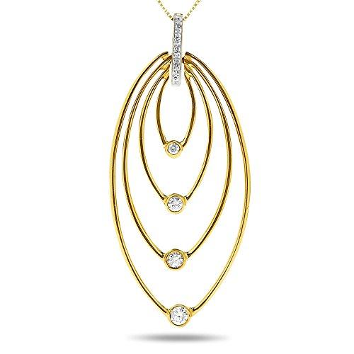 1/5 Carat, 14k Yellow Gold Diamond Journey Pendant Necklace