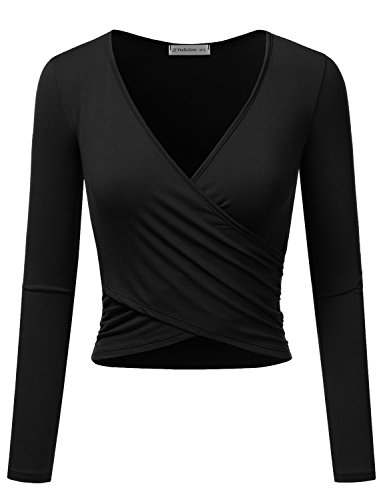 (JJ Perfection Women's Long Sleeve Deep V Neck Unique Cross Wrap Crop Top Black L)