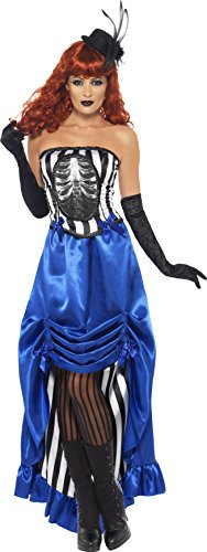 Smiffy's Women's Grotesque Burlesque Pin Up Costume, Corset and Skirt, Halloween, Size 10-12, (Dead Burlesque Halloween Costume)