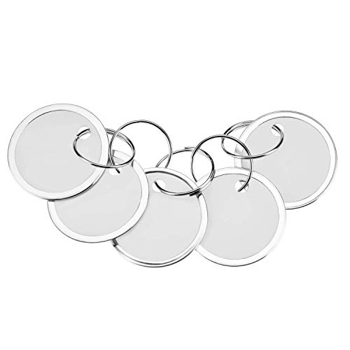 Fanrel 60 Pieces Metal Rimmed Key Tags Round Paper Tags with Split Rings (31mm, ()
