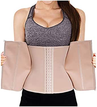 LODAY Waist Trainer Corset for Weight Loss Tummy Control Sport Workout Body Shaper Black (XS, BEIGE(zip&hooks))