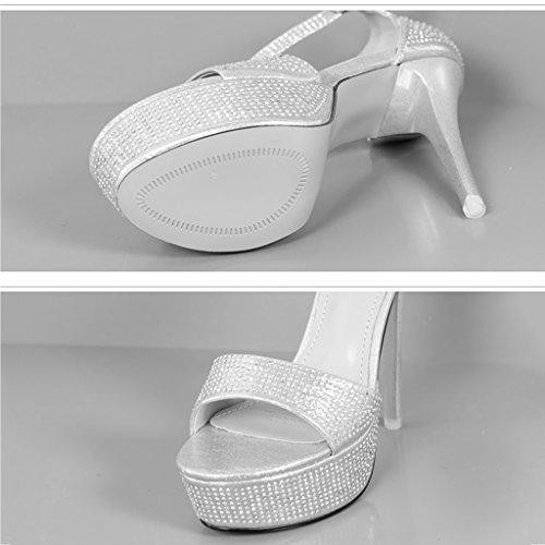 KaiGangHome Plattform ultra Schnalle mit Schuhe Strass Color Wort mit Frauen feine High Schuhe 1 Size 13cm wasserdichte Heels 5 A 39 Zoll High heeled Höhe rtqAr