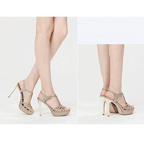 Mode Bankett Füße Schuhe nackten Gold hochhackige Sexy Damenschuhe kleine Sandalen Traum Ow8UdO