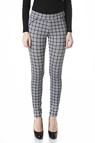 Suko Ponte Knit Leggings For Women Pull On Pants 18155 Plaid 4 (Pants Plaid Womens)