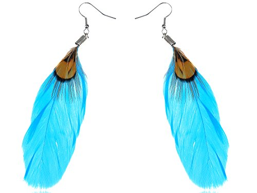 (Alilang Antique Chunks of Faux Turquoise Stones Fish Hook Fashion Earrings)