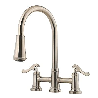 Pfister LG531YPK Ashfield 2-Handle Pull Down Kitchen Faucet, Brushed Nickel