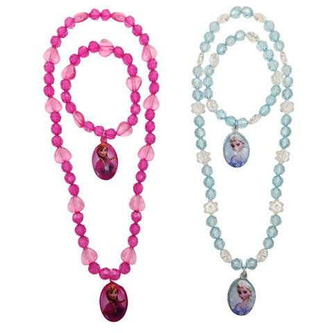 Heart Shaped Bead Necklace - [ Total 2 sets ] Disney Frozen Necklace and Bracelet sets include Pink Heart and Snowflake Shaped Beads (1 x Elsa and 1 x Anna)