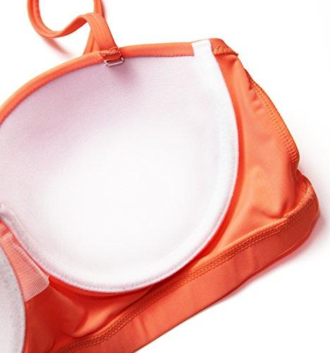 Aixy Mujer Vintage Halter Neck Bikinis Conjuntos Polka Dot Bikini Cintura Alta Trajes de Baño de Dos Piezas Naranja
